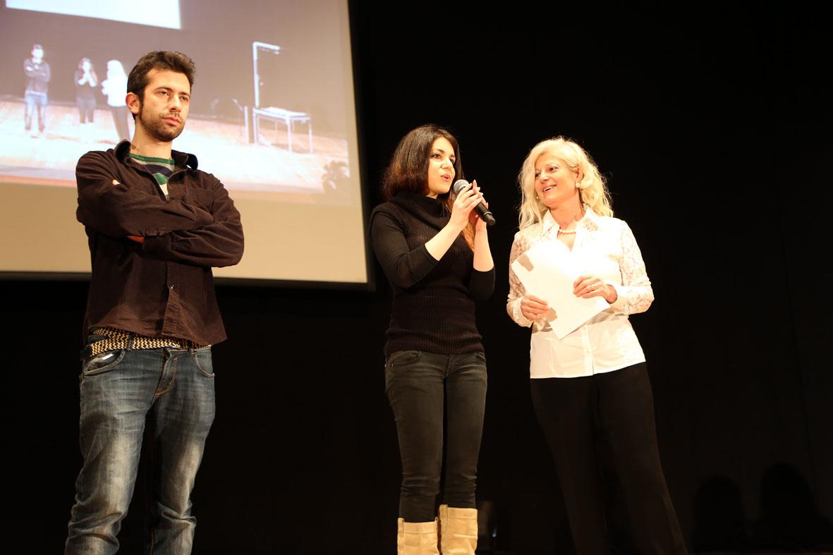 Antonella Allegrino sul palco con Erica Abelardo e Fabio D'Onofrio