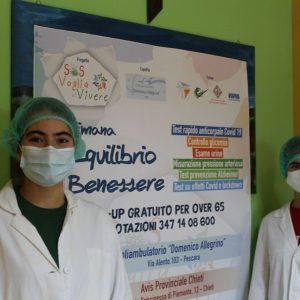 Lorenza Verna a dx e Chiara Torino Rodriguez, due delle studentesse -volontarie al Poliambulatorio Allegrino