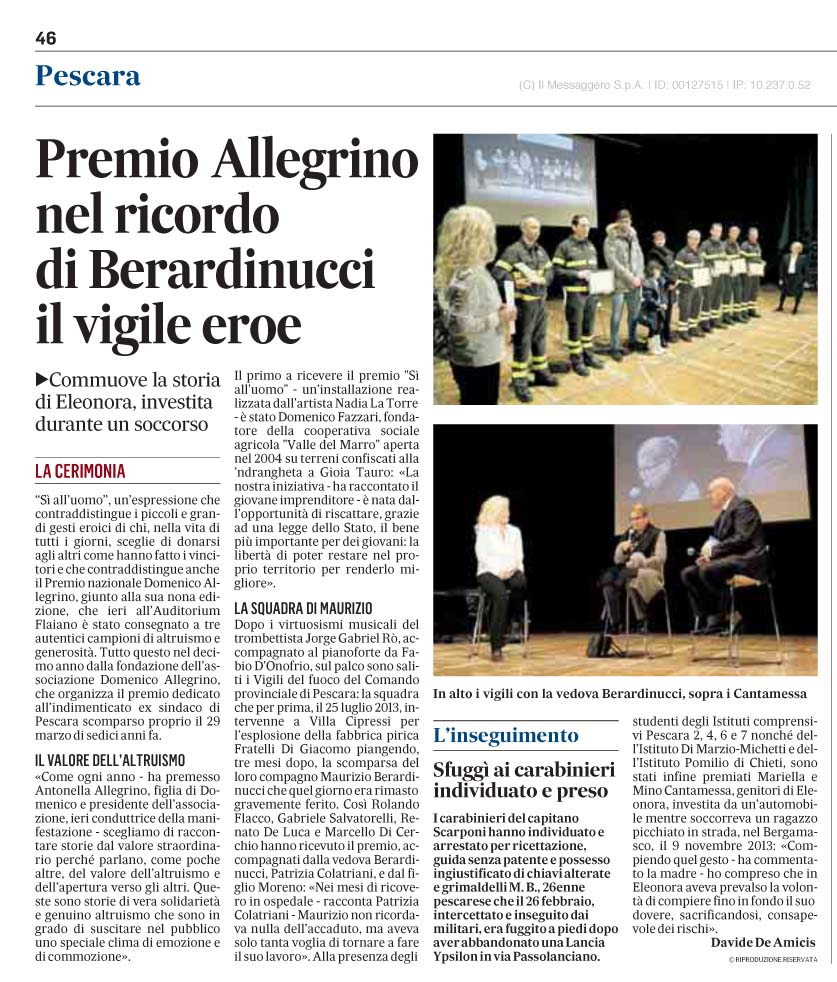 ilmessaggero-29marzo2015-PREMIO-ALLEGRINO